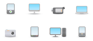 Vector illustration set of elegant simple icons for common digital media devicesのイラスト素材 [FYI03071694]