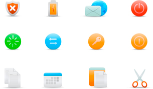 Vector illustration set of elegant simple icons for common computer functionsのイラスト素材 [FYI03071698]