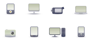 Vector illustration set of elegant simple icons for common digital media devicesのイラスト素材 [FYI03071699]