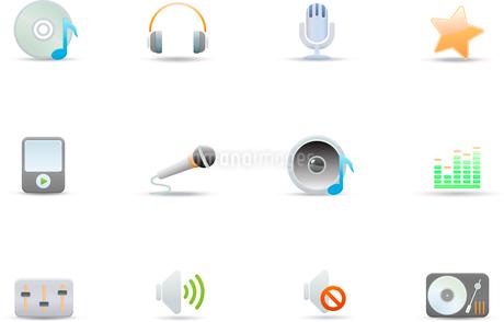 Vector illustration set of elegant simple icons for common digital music mediaのイラスト素材 [FYI03071701]