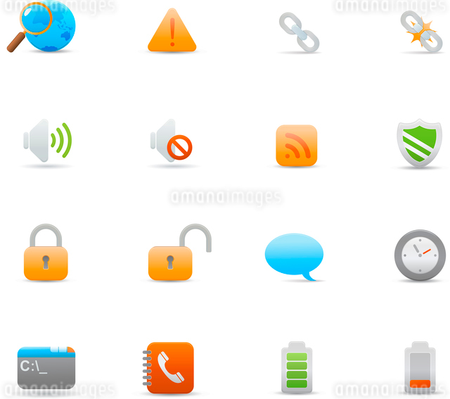 Vector illustration set of elegant  simple icons for common computer functionsのイラスト素材 [FYI03071702]