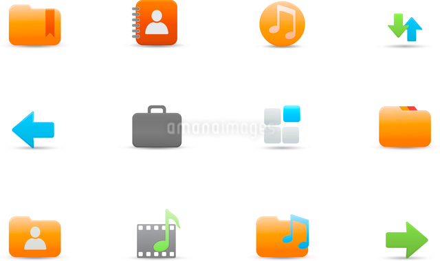 Vector illustration set of elegant simple icons for common computer and media devices functionsのイラスト素材 [FYI03071703]