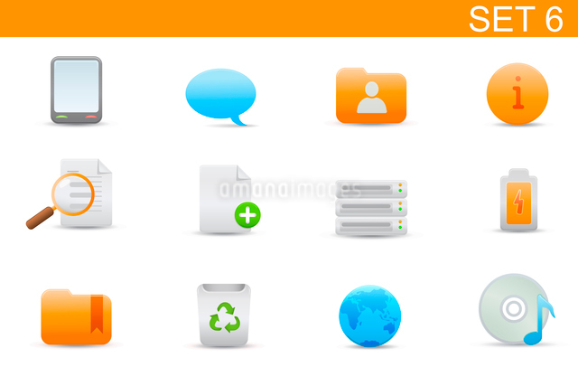 Vector illustration set of elegant simple icons for common computer and media devices functions. Setのイラスト素材 [FYI03071725]