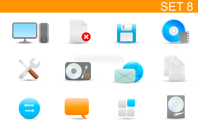 Vector illustration set of elegant simple icons for common computer and media devices functions.Set-のイラスト素材 [FYI03071727]