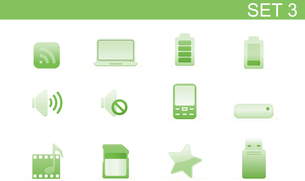 Vector illustration set of elegant simple icons for common computer and media devices functions.Set-のイラスト素材 [FYI03071729]