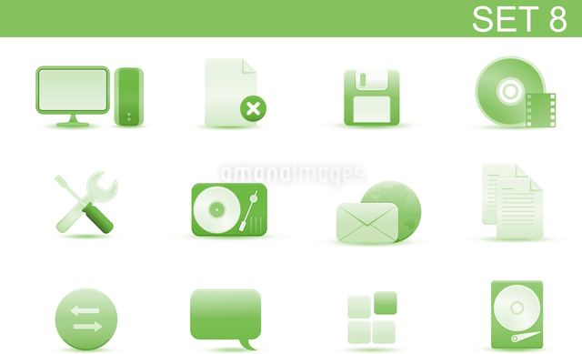 Vector illustration set of elegant simple icons for common computer and media devices functions.Set-のイラスト素材 [FYI03071732]