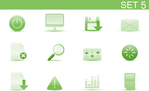 Vector illustration set of elegant simple icons for common computer and media devices functions. Setのイラスト素材 [FYI03071733]