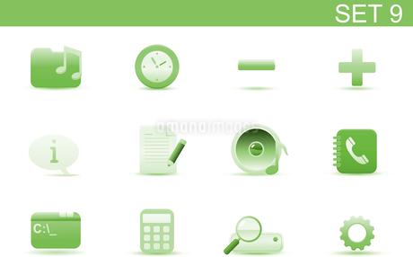 Vector illustration set of elegant simple icons for common computer and media devices functions. Setのイラスト素材 [FYI03071736]
