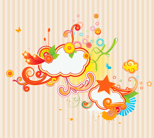 Vector illustration of retro styled design background made of floral and ornamental elements.のイラスト素材 [FYI03071745]