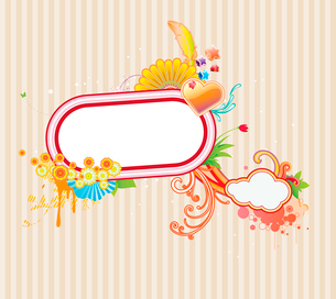Vector illustration of funky styled design frame made of floral elementsのイラスト素材 [FYI03071750]