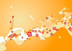 Vector illustration of funky styled design background made of floral elementsのイラスト素材 [FYI03071753]