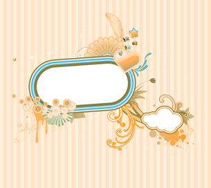 Vector illustration of funky styled design frame made of floral elementsのイラスト素材 [FYI03071756]