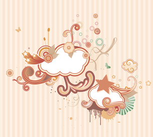 Vector illustration of retro styled design background made of floral elementsのイラスト素材 [FYI03071757]