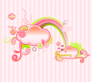 Vector illustration of retro styled design frame made of floral elements.のイラスト素材 [FYI03071768]