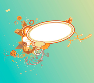 Vector illustration of retro styled design frame made of floral elements and funky starsのイラスト素材 [FYI03071772]