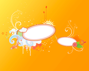 Vector illustration of funky styled design frame made of floral elementsのイラスト素材 [FYI03071776]