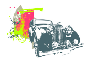 Vector Illustration of old vintage custom collector's carのイラスト素材 [FYI03071780]