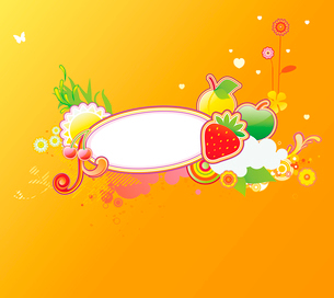Vector illustration of funky styled design frame made of floral and fruity elementsのイラスト素材 [FYI03071782]