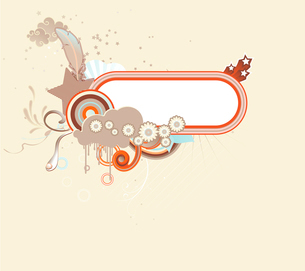 Vector illustration of funky retro styled design frame made of floral elementsのイラスト素材 [FYI03071785]