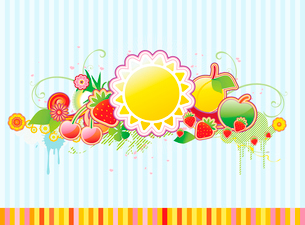 Vector illustration of funky styled design frame made of floral and fruity elementsのイラスト素材 [FYI03071786]