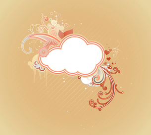 Vector illustration of funky retro styled design frame made of floral elementsのイラスト素材 [FYI03071787]