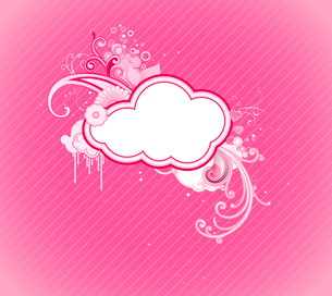 Vector illustration of funky retro styled design pink frame made of floral elementsのイラスト素材 [FYI03071788]