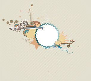 Vector illustration of funky styled design frame made of floral elementsのイラスト素材 [FYI03071791]