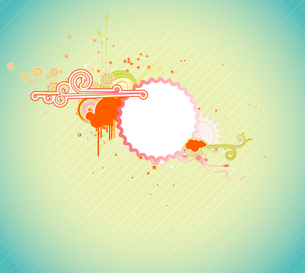 Vector illustration of funky styled design frame made of floral elementsのイラスト素材 [FYI03071792]