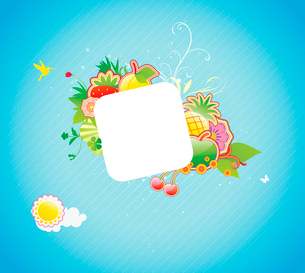 Vector illustration of funky styled design frame made of floral and fruity elementsのイラスト素材 [FYI03071797]