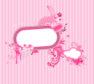 Vector illustration of funky styled design frame made of floral elementsのイラスト素材 [FYI03071799]