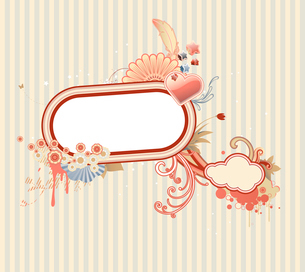 Vector illustration of funky styled design frame made of floral elementsのイラスト素材 [FYI03071800]