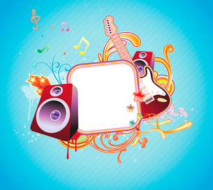 Vector illustration of music abstract frameのイラスト素材 [FYI03071806]