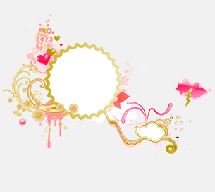 Vector illustration of retro styled design frame made of floral elements and funky heartsのイラスト素材 [FYI03071810]