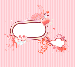 Vector illustration of funky styled design frame made of floral elementsのイラスト素材 [FYI03071811]