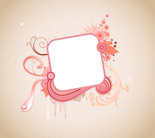 Vector illustration of funky styled design frame made of floral elementsのイラスト素材 [FYI03071835]