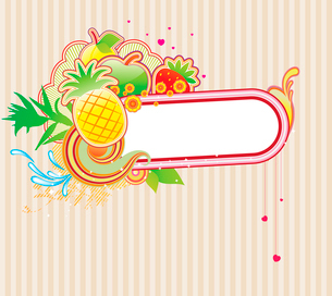 Vector illustration of funky styled design frame made of floral and fruity elementsのイラスト素材 [FYI03071839]