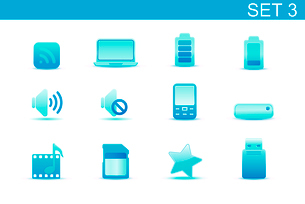 Vector illustration set of blue elegant simple icons for common computer and media devices functionsのイラスト素材 [FYI03071850]