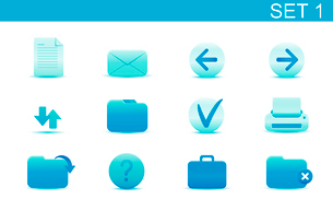 Vector illustration set of blue elegant simple icons for common computer functions. Set-1のイラスト素材 [FYI03071851]