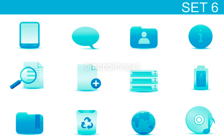 Vector illustration set of blue elegant simple icons for common computer and media devices functionsのイラスト素材 [FYI03071853]