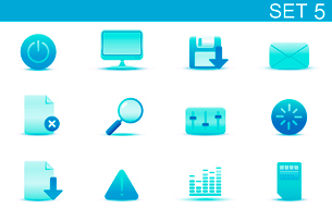 Vector illustration set of blue elegant simple icons for common computer and media devices functionsのイラスト素材 [FYI03071854]