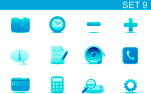 Vector illustration set of blue elegant simple icons for common computer and media devices functionsのイラスト素材 [FYI03071855]