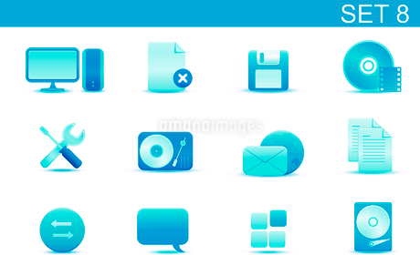 Vector illustration set of blue elegant simple icons for common computer and media devices functionsのイラスト素材 [FYI03071857]