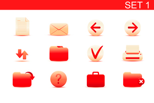 Vector illustration set of red elegant simple icons for common computer functions. Set-1のイラスト素材 [FYI03071865]