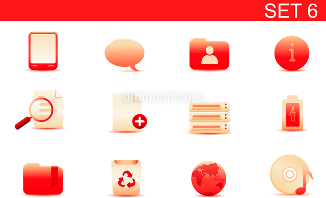 Vector illustration set of red elegant simple icons for common computer and media devices functions.のイラスト素材 [FYI03071867]