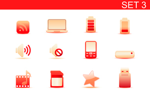 Vector illustration set of red elegant simple icons for common computer and media devices functions.のイラスト素材 [FYI03071868]