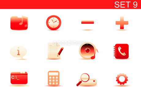 Vector illustration set of red elegant simple icons for common computer and media devices functions.のイラスト素材 [FYI03071870]