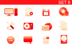 Vector illustration set of red elegant simple icons for common computer and media devices functions.のイラスト素材 [FYI03071871]