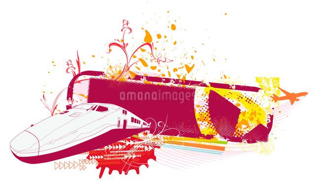 Vector illustration of grunge style urban background with train and airplaneのイラスト素材 [FYI03071874]