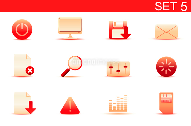 Vector illustration set of red elegant simple icons for common computer and media devices functions.のイラスト素材 [FYI03071875]
