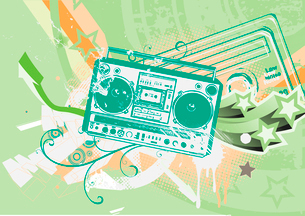 Vector illustration of Grunge styled urban background in graffiti style with cool Boom box.のイラスト素材 [FYI03071885]
